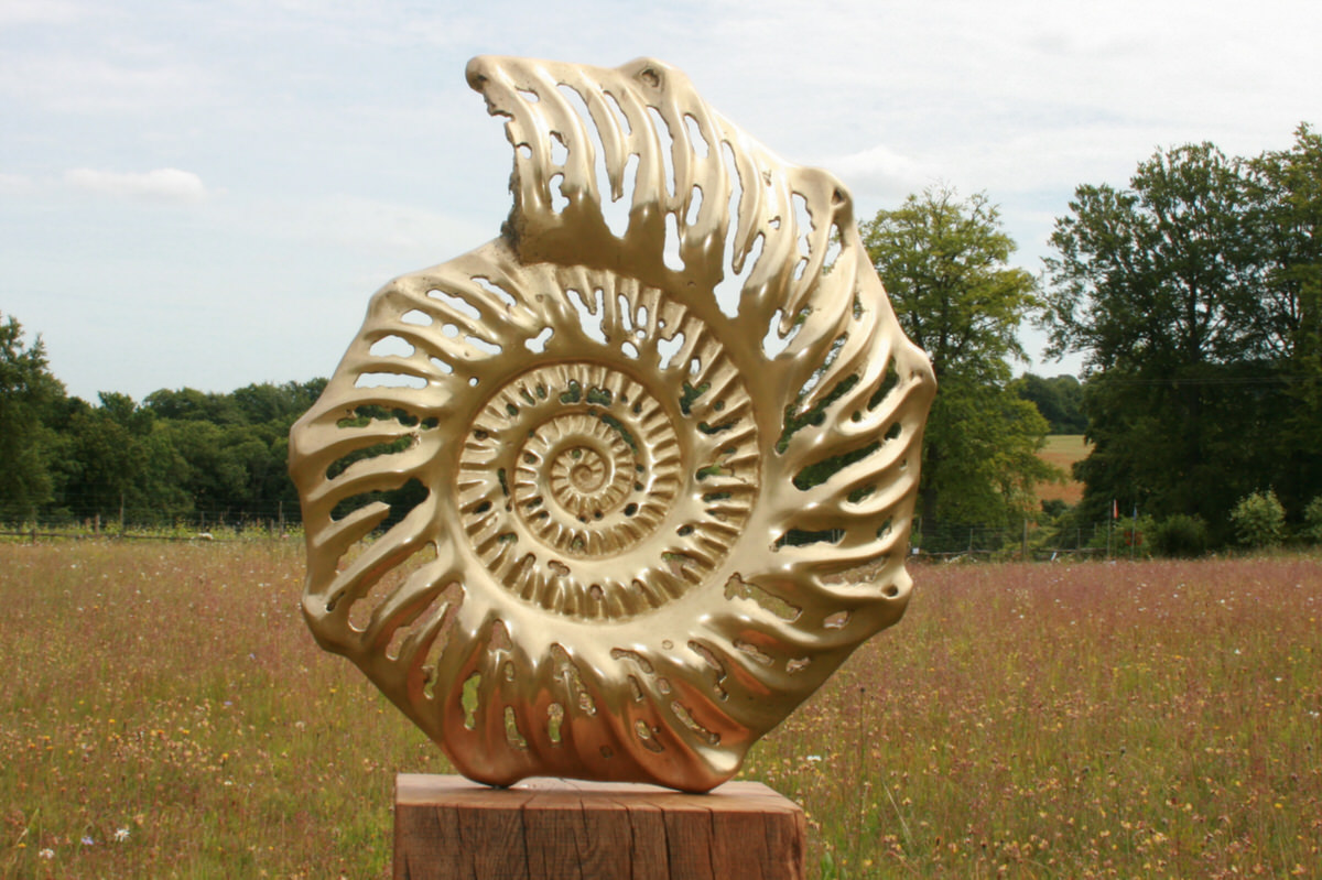Ammonite slice outside bronze garden sculpture organic form sculpture inspired by ammonite fossil by Mark Reed