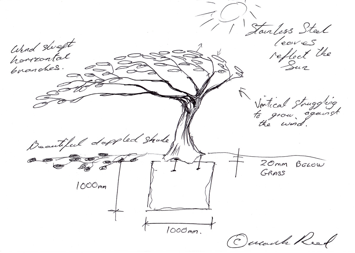 Arbour Metallum Tree sculpture architect and specifier public commission for hospital drawings by Mark Reed