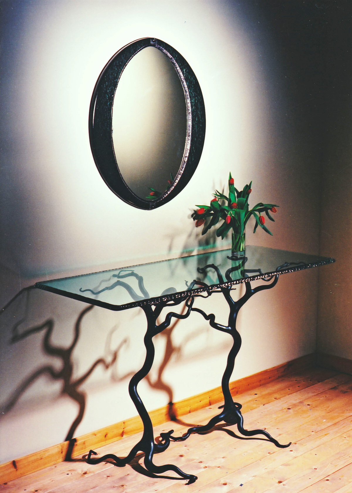 Savernake Forest Table forged steel sculptural furniture tree table by Mark Reed