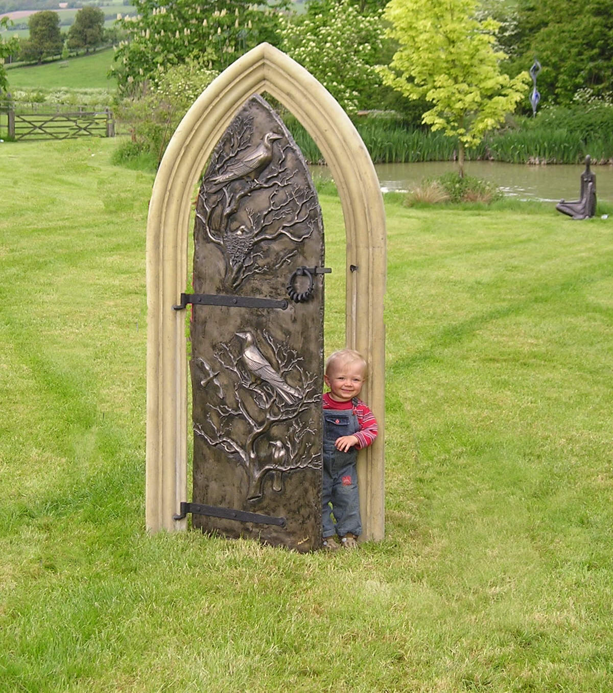 Secret Garden Door Freestanding landscape sculpture garden sculpture panel for ugly wall enchanted garden cottage garden by Mark Reed