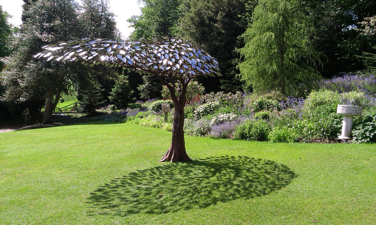 Arbour Metallum Monumental Tree Sculpture forged steel and stainless steel poolside shade poolside sculpture