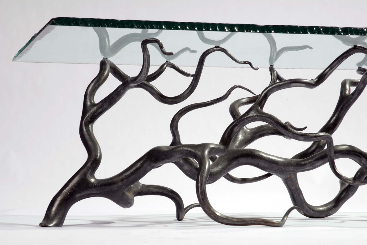 Branch Coffee Table forged steel and glass rectangular  statement table by Mark Reed
