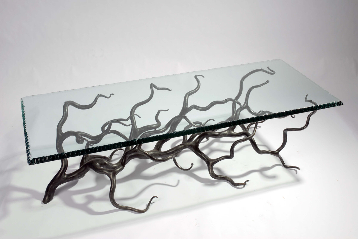 Branch Coffee Table forged steel rectangular unique sculptural for interior designers table by Mark Reed