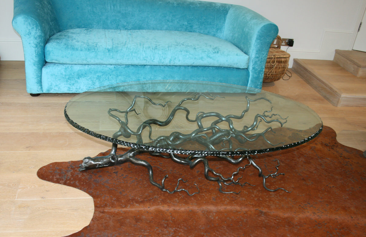 Branch artistic oval tree sculptural coffee table steel and glass unique by sculptor Mark Reed