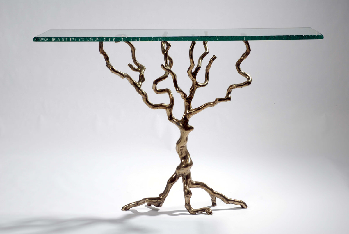 Bronze Tree Console Table Interior Funrishings ICFF Designer Living Space  Furniture By Mark Reed