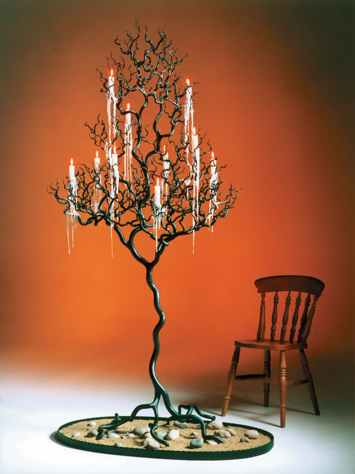 Forged Steel Candeltree sculpture unique candleholder sculptural artistic candelstick metal tree by Mark Reed
