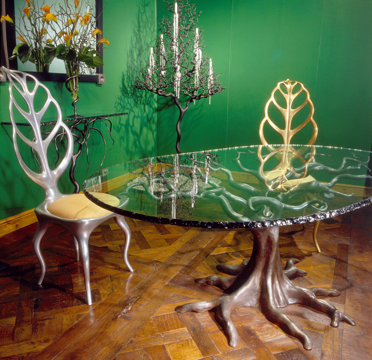 Penshurst forged steel dining table and leaf chair Decorex International and Decorex USA stand by Mark Reed