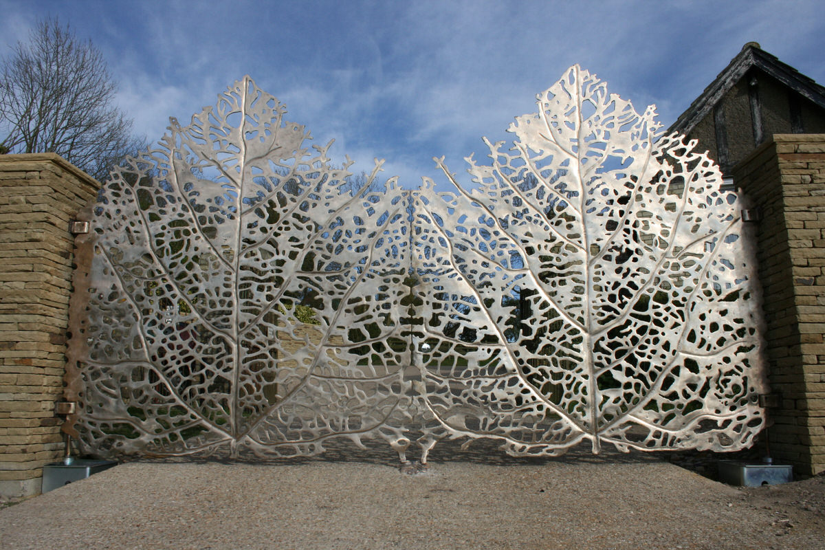 Skeleton Leaf Gates bronze artistic driveway estate gates for architect and specifers by Mark Reed