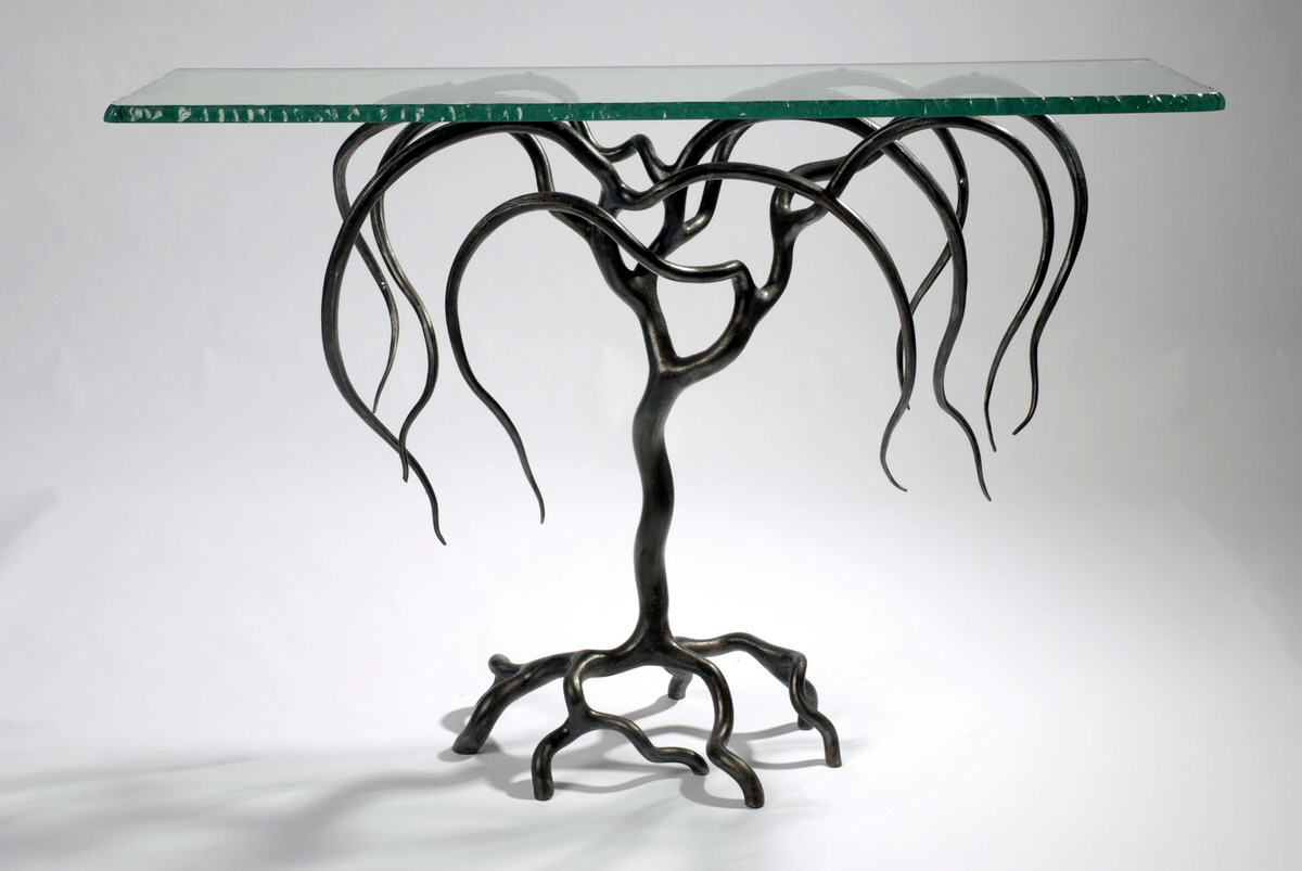 Weeping Willow Console artistic Table Forged Steel and glass table statement inetrior design table masion de objet by Mark Reed