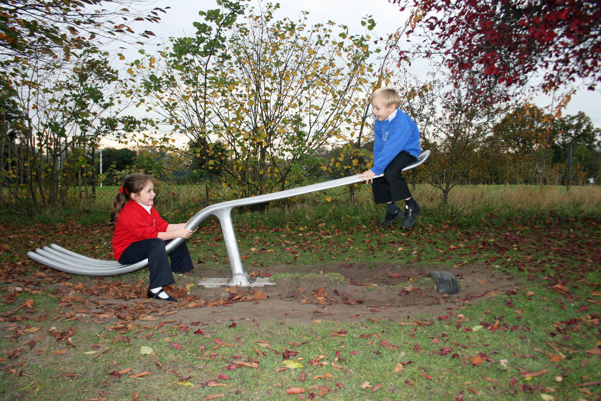 fork seesaw bespoke commission for play park aluminum garden sculpture by Mark Reed