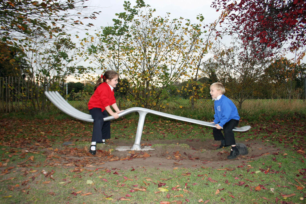fork seesaw bespoke recycled aluminum sculpture for elementary primary school  unique play apparatus by Mark Reed