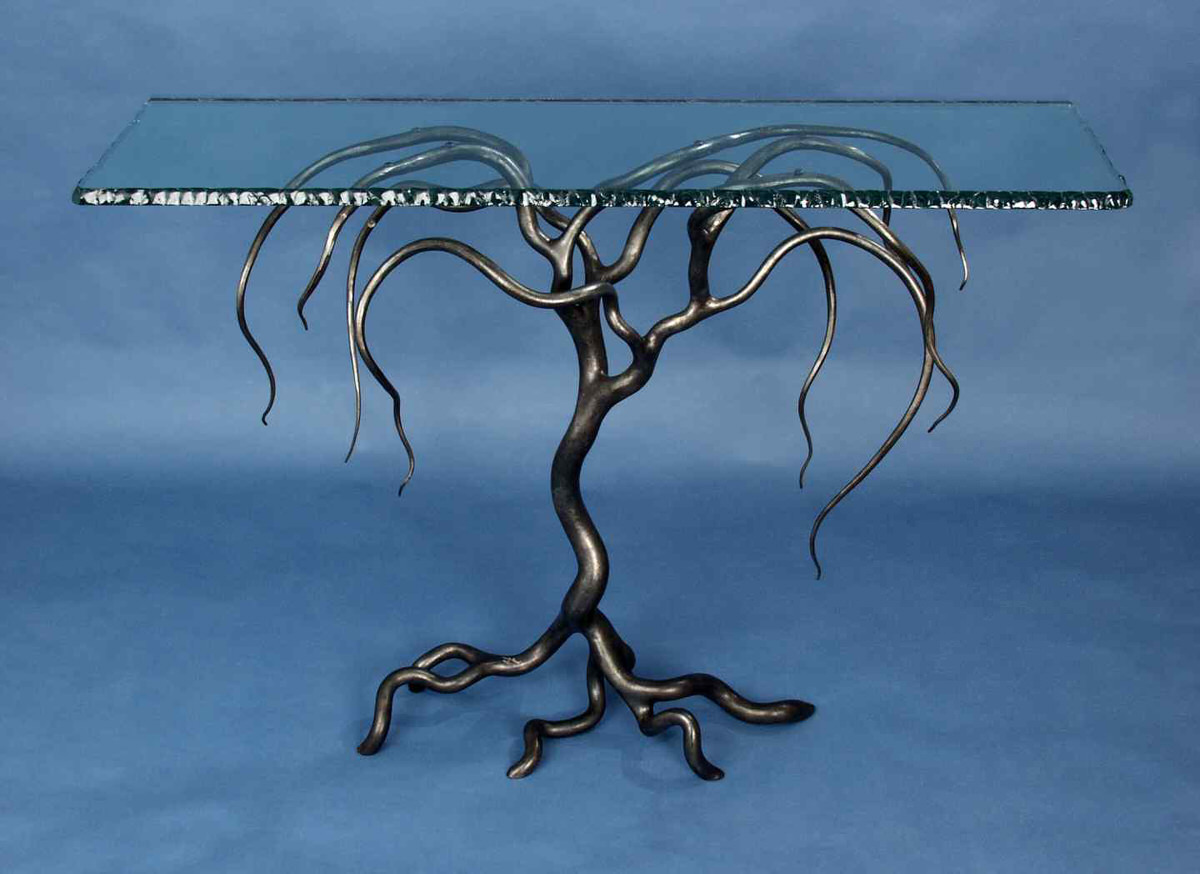 weeping willow console forged steel and glass table unique table for inerior designers design decor russia by furniture designer Mark Reed