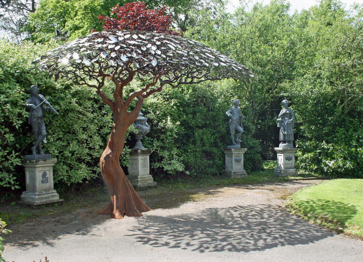 Arbour Metallum Metal Tree Sculpture female form monumental sculpture public sculpture by Mark Reed at Summers Place Sothebys