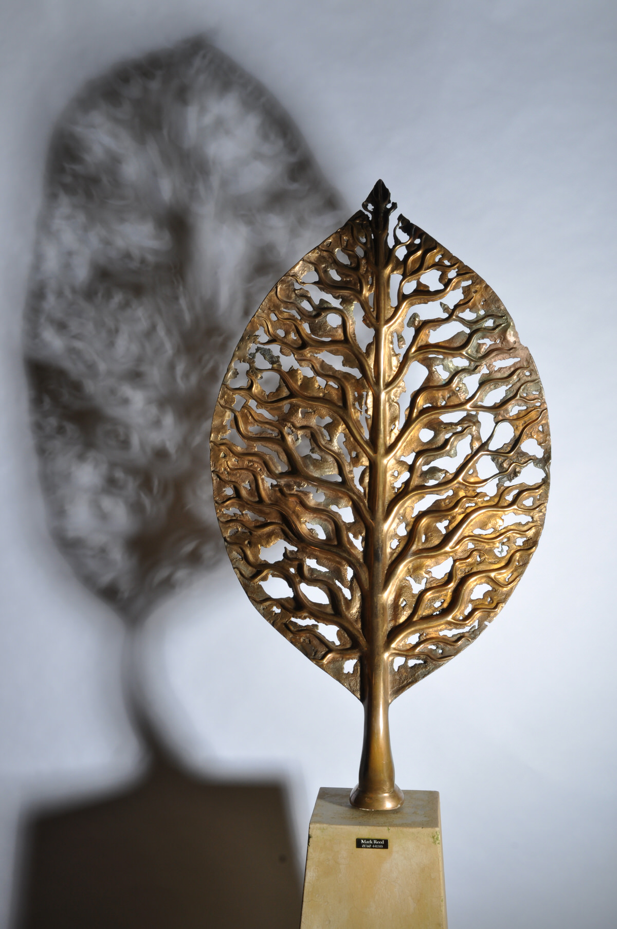 Life Leaf Medium Bronze sculpture  shadow sculpture architect sculpture bespoke sculpture tree sculpture by Mark Reed