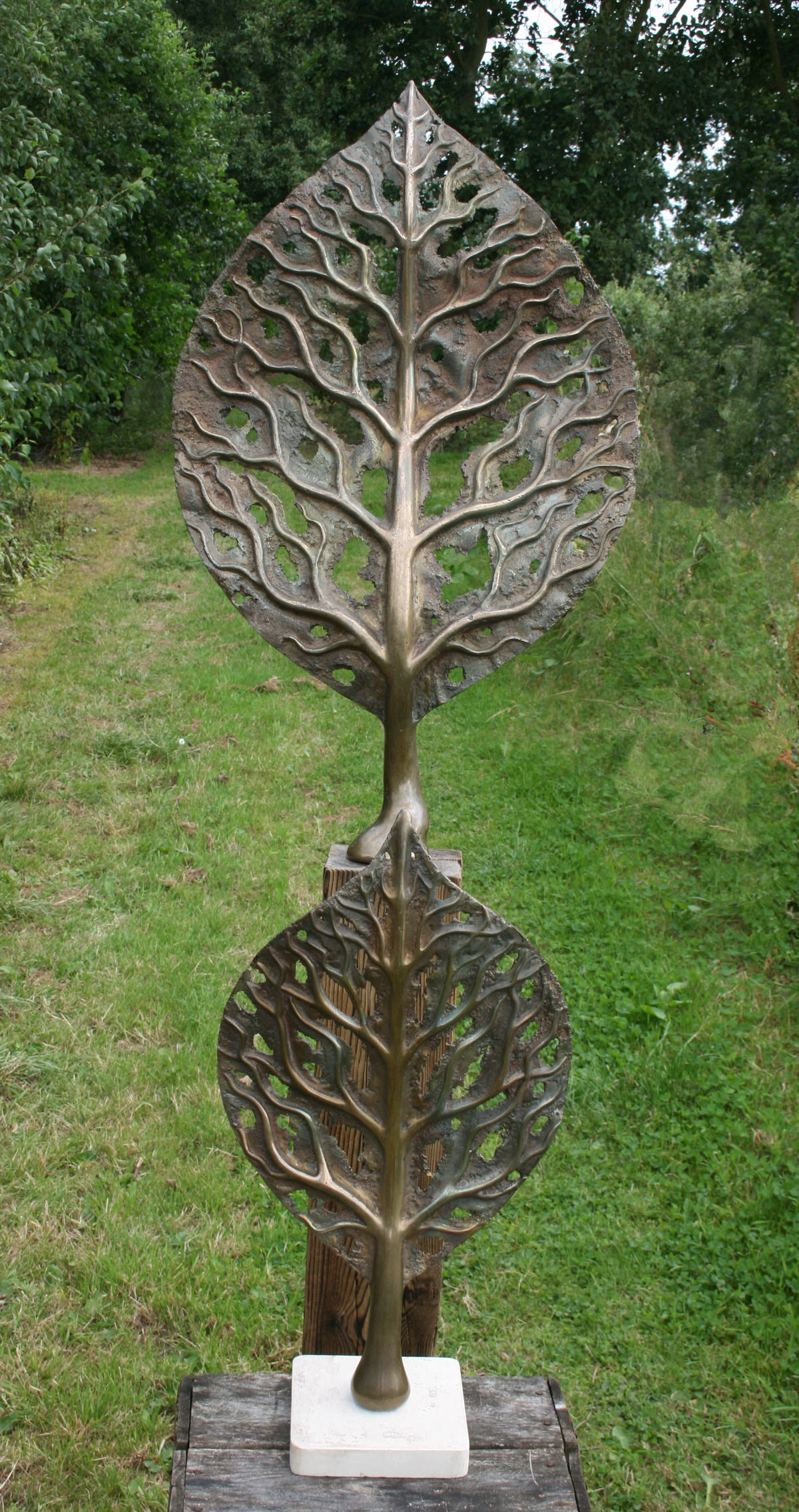 Life Leaf Small and medium bronze sculpture garden sculpture office design landscape  design by Mark Reed