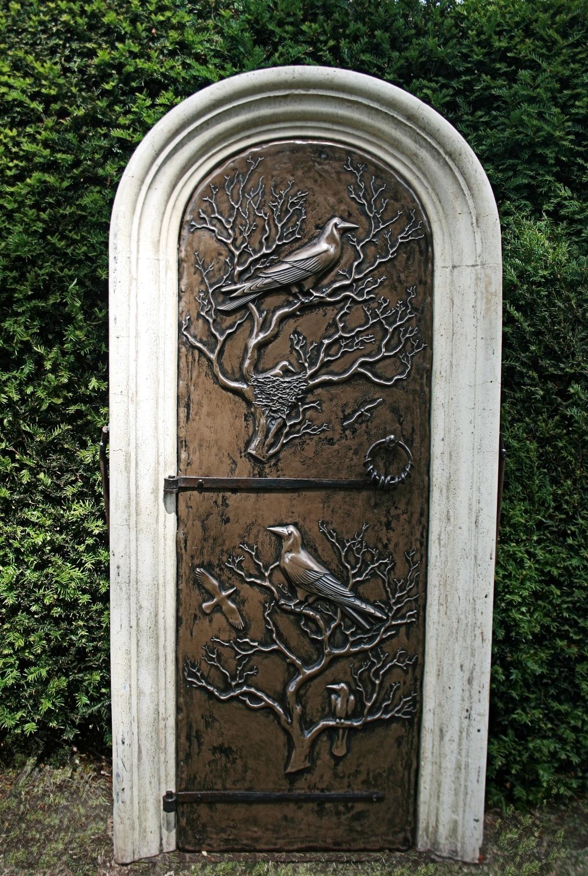 Secret Garden Door Roman Arch walled gared garden sculpture garden freize bronze garden panel enchanted sculpture by Mark Reed