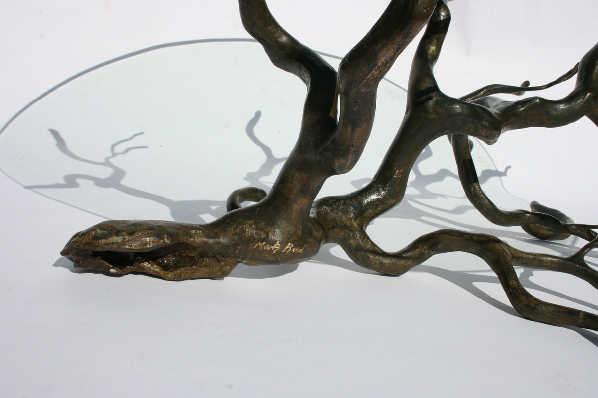 Branch Coffee Table bronze (rectangular) bespoke unique sculptural tree table by Mark Reed sculptor