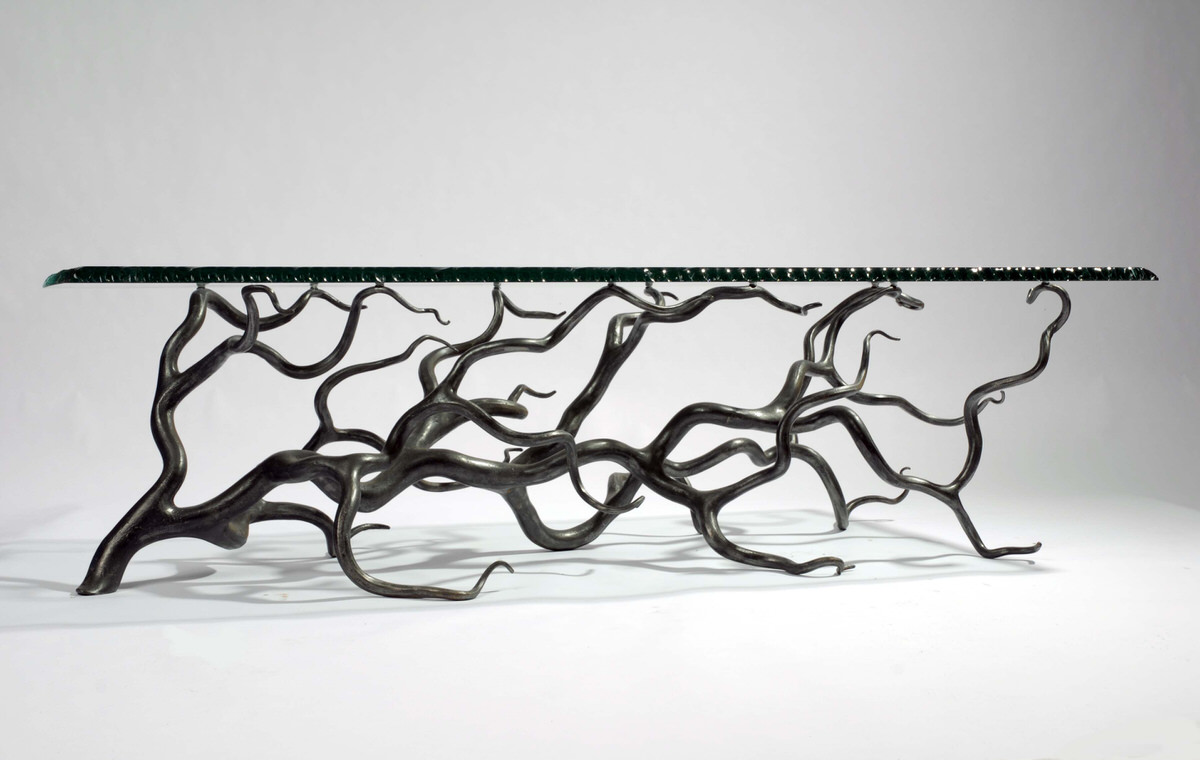 Branch Coffee Table forged steel rectangular artistic table for interior designers by Mark Reed