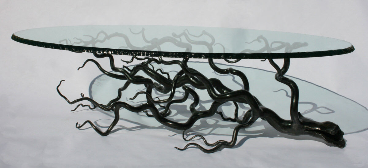 Branch Coffee Table oval tree statement table glass and steel bespoke stunning and unique table by Mark Reed