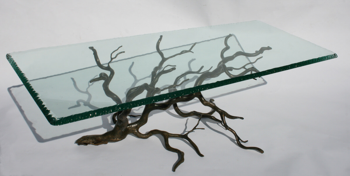 Branch Coffee Table rectangular  bronze and glass unique statement table  by Mark Reed sculptor