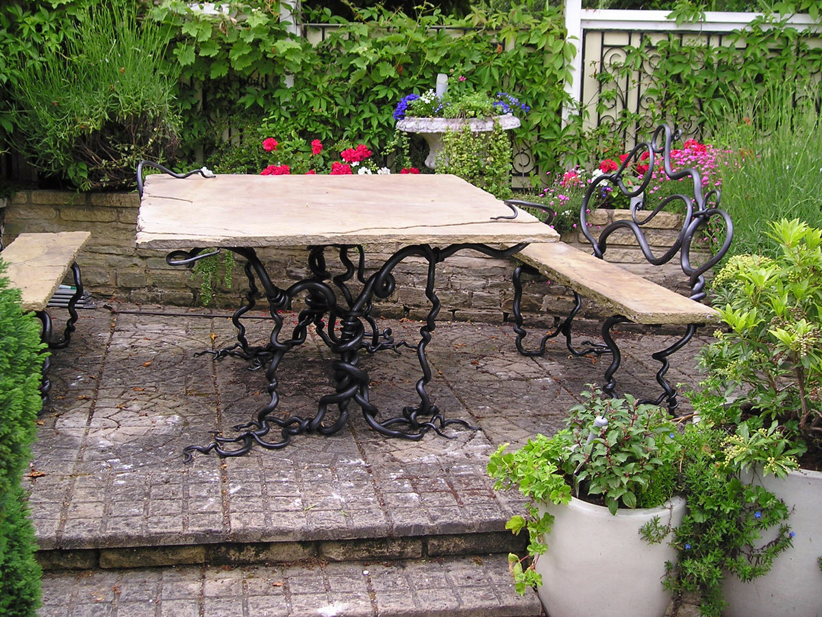 Rustic Bench And Table Mark Reed Sculpture