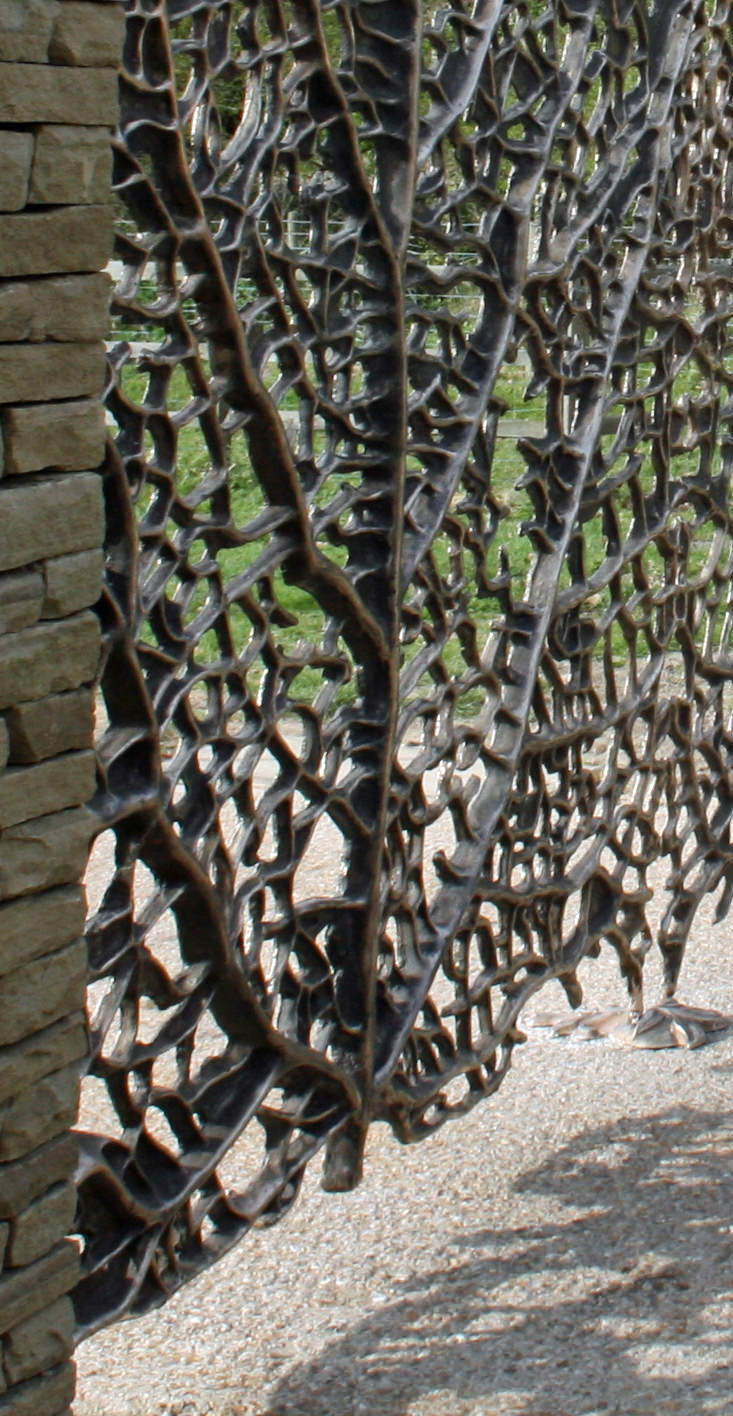 Skeleton Leaf Gates bronze  bespoke estate driveway gates for landscape designers, specifiers and architects by Mark Reed