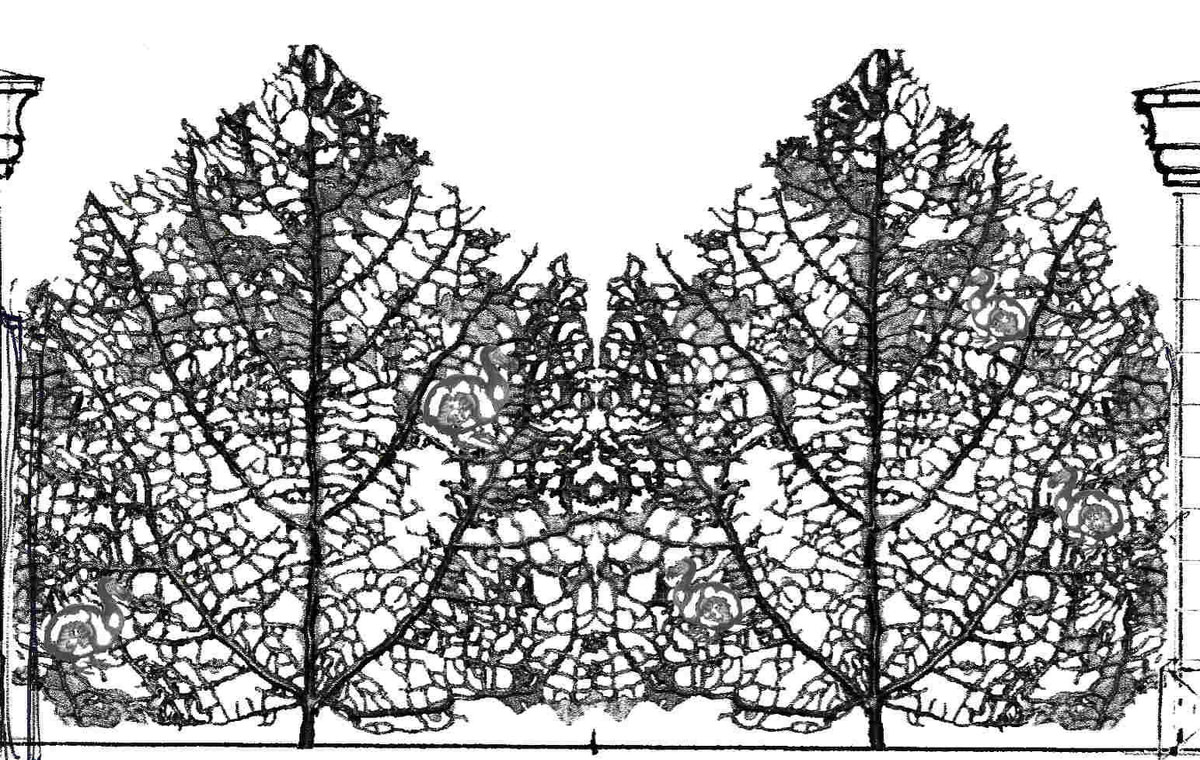 Skeleton leaf gates estate driveway gates bespoke commission drawings by Mark Reed