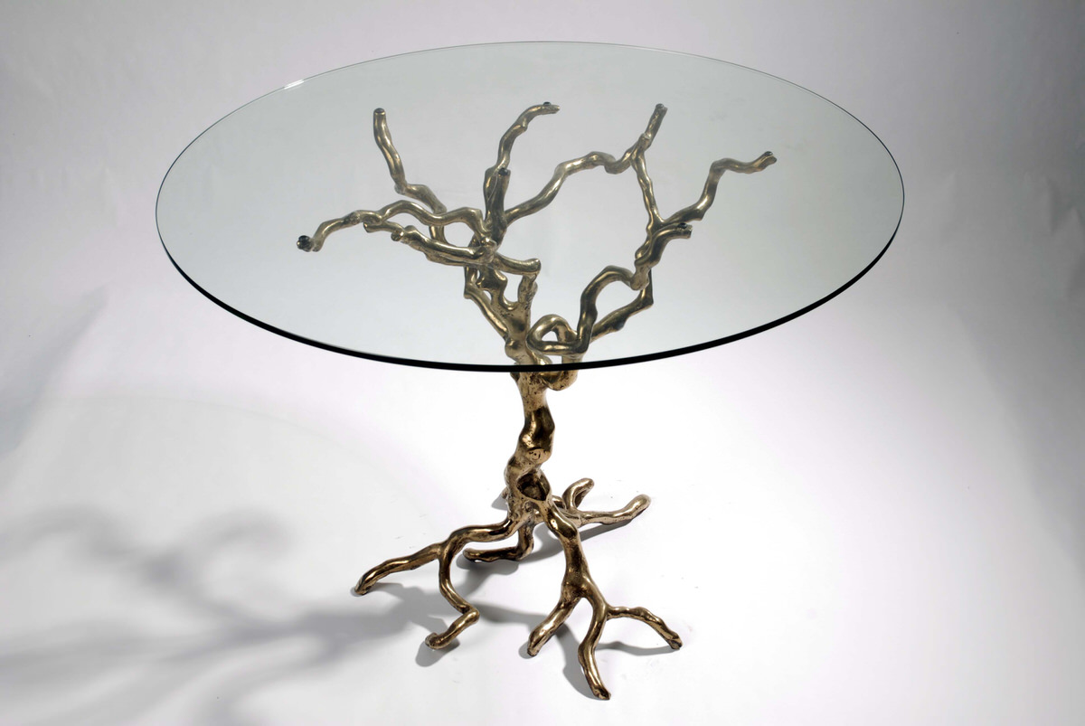 Tree  bronze occasional table artistic designer home furniture by Mark Reed