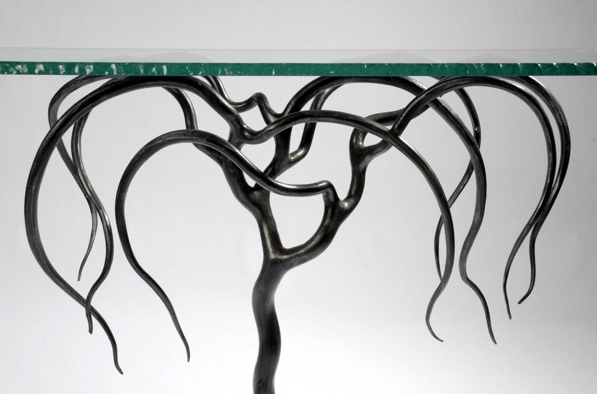 Weeping Willow Console sculptural table forged steel and glass unique interior design statement table decorex international by Mark Reed