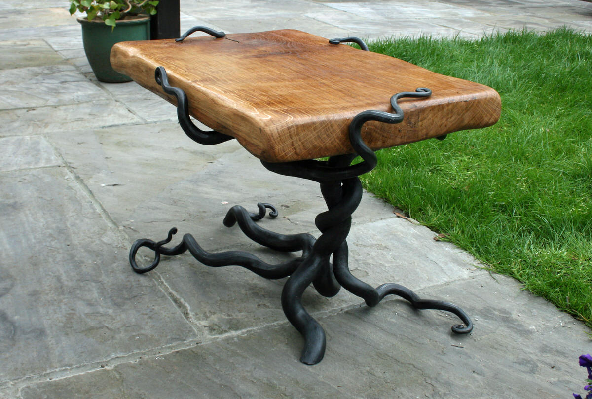 rustic table forged steel and oak bespoke commission garden furniture by Mark Reed