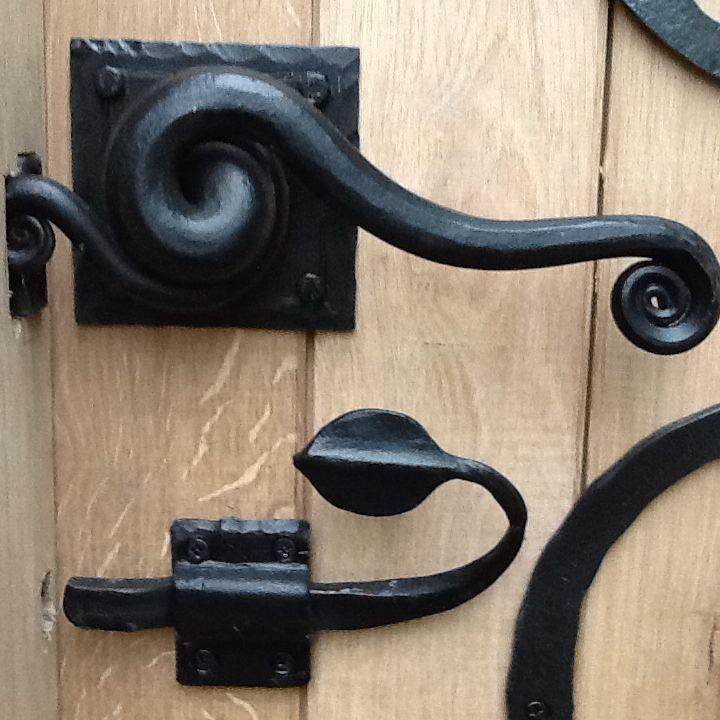 swirly door forged steel handles bespoke unique commission garden furniture door by Mark Reed